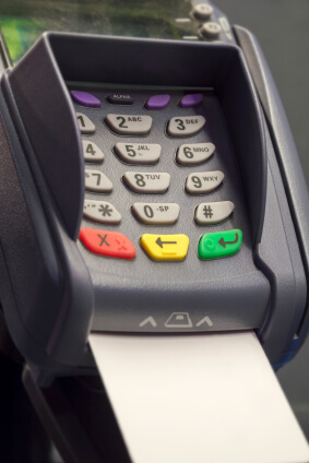 Chip and PIN machine with card inserted