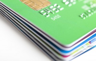 stack of credit cards with chip