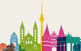 Berlin colourful graphic of mixed skyline