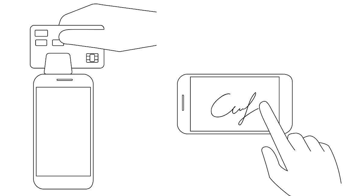 swipe reader payment illustrated as used via phone app