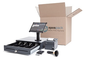 EPOS delivery pack with till drawer, touchscreen, printer, scanner and card reader