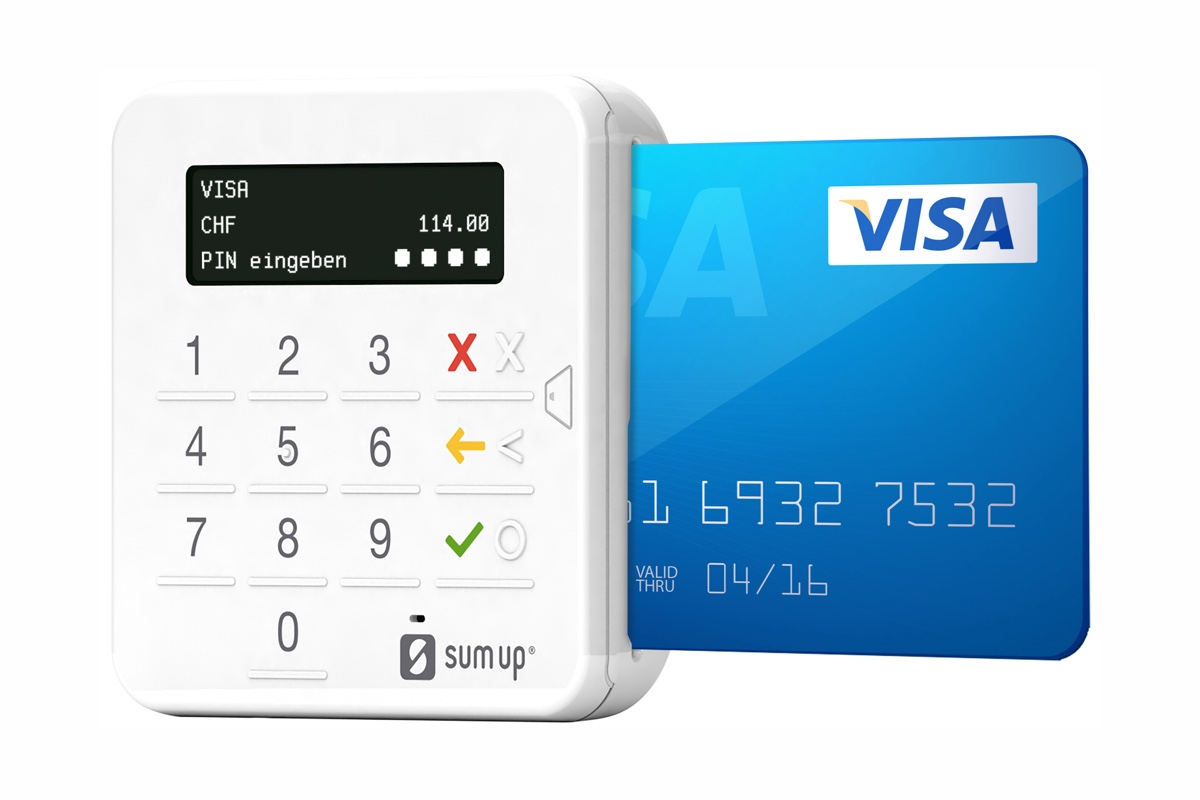 SumUp card machine with Visa card inserted