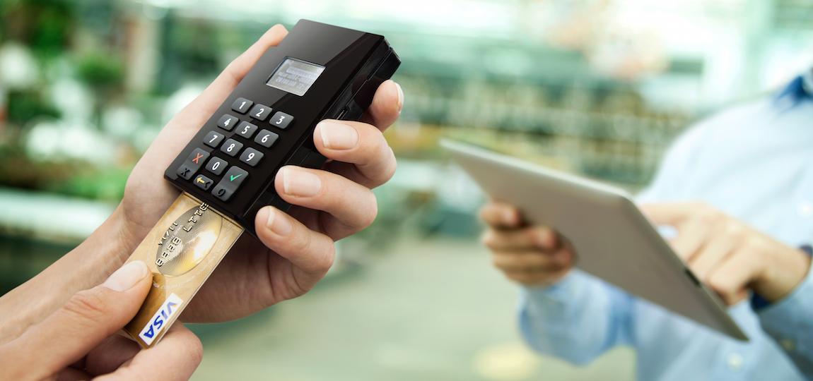 Adyen Shuttle mobile card reader accepting chip payment