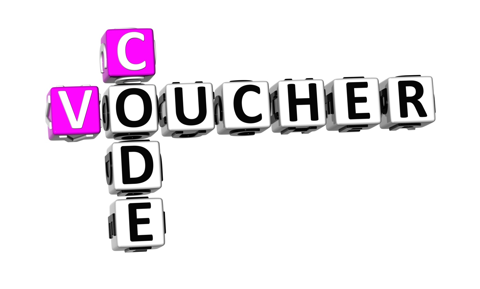 voucher code letter blocks
