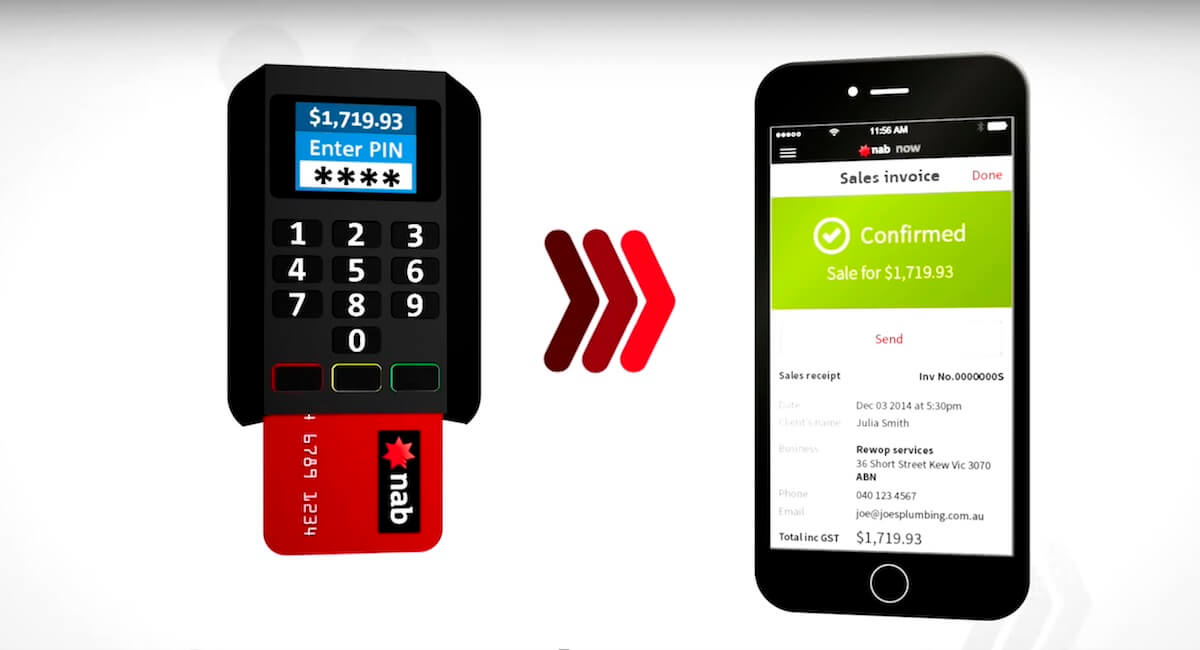 NAB Now chip and PIN card payment via card reader and app