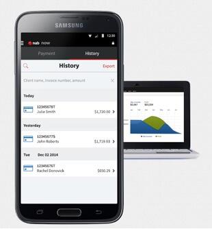 NAB Now analytics on phone and laptop