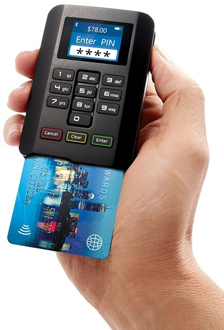 Pocket Pay card reader with chip card inserted