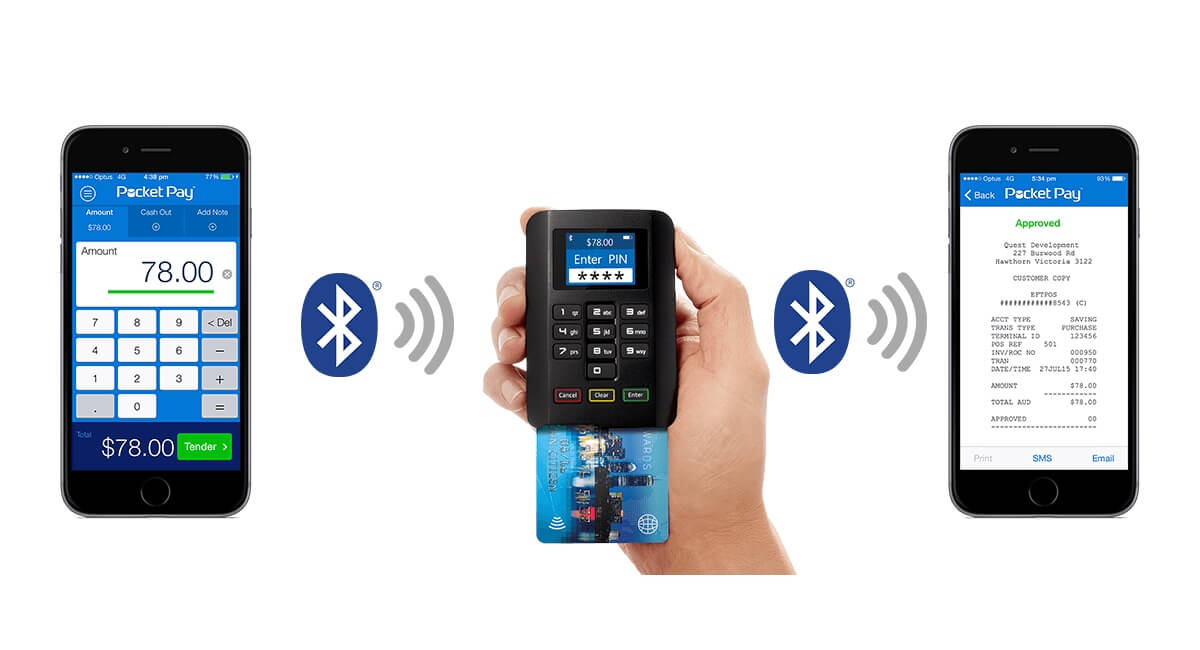 Quest Pocket Pay transaction on card reader and in app