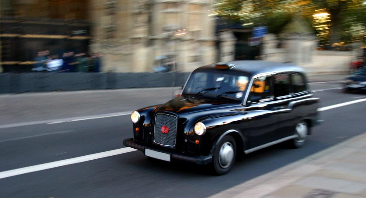 black cab on the road in London