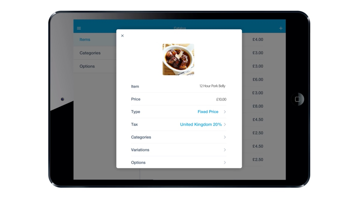 PayPal Here app single product view on iPad