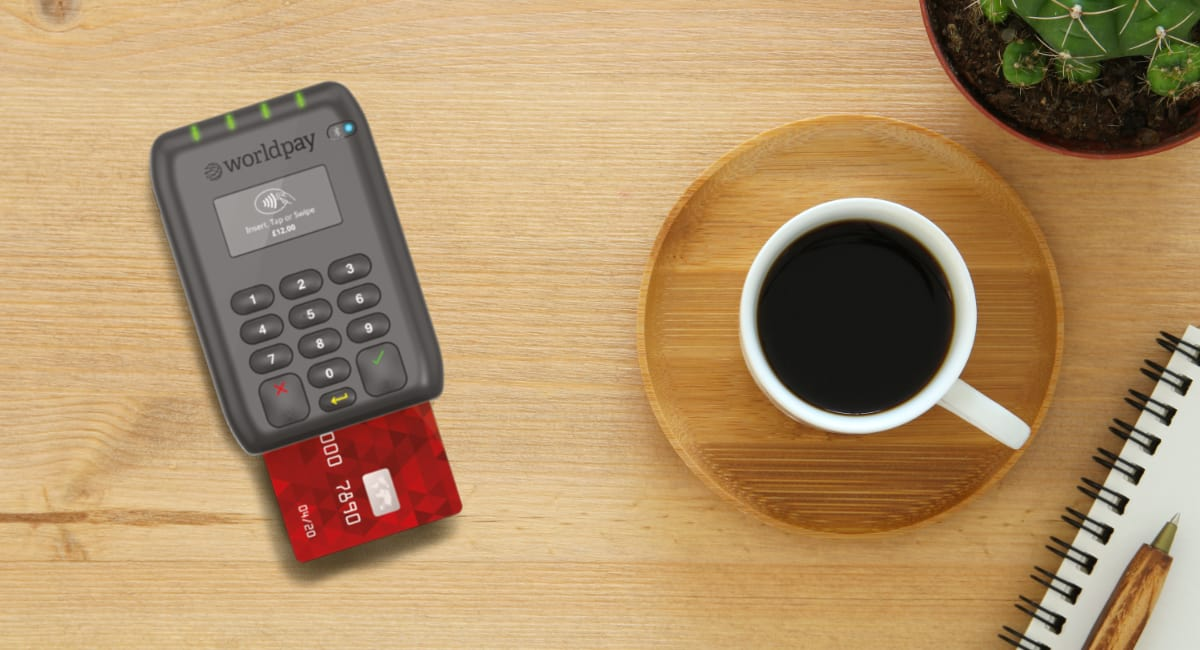Worldpay Reader on a cafe table