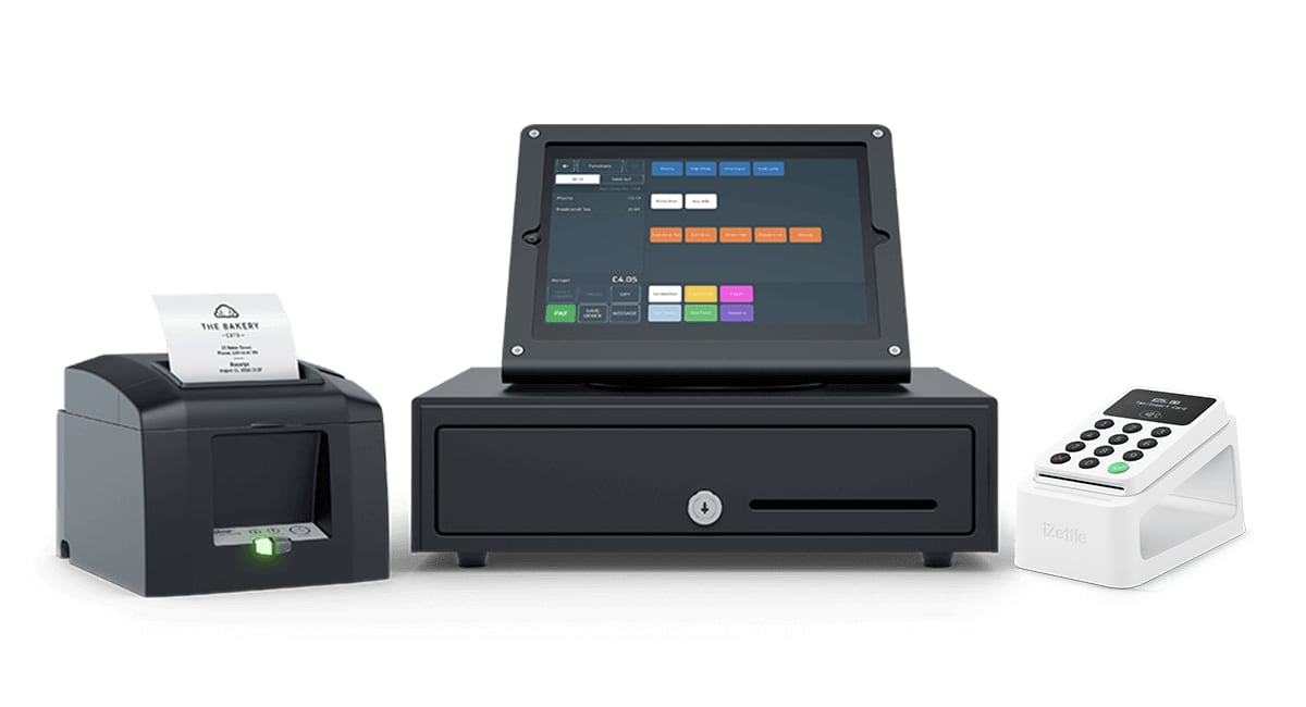 iZettle Reader 2 with receipt printer, cash drawer and iPad