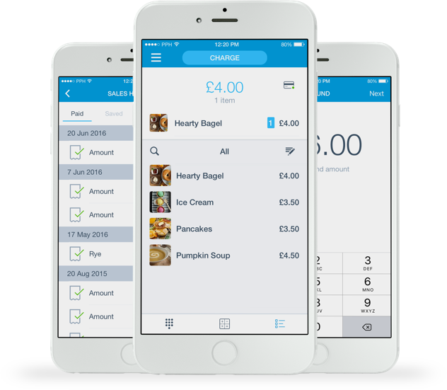 PayPal Here POS app screens on iPhones