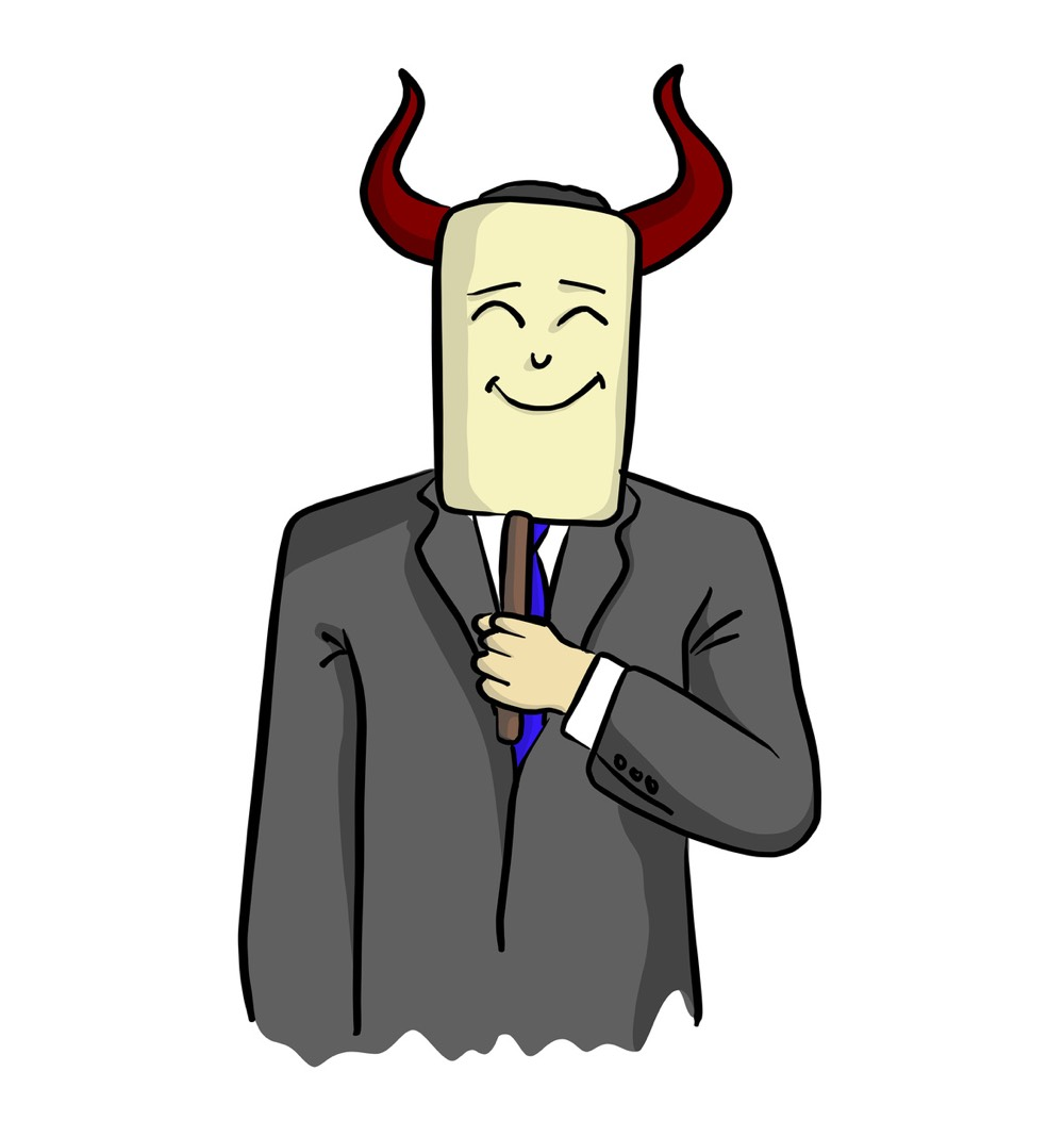 suited man holding up a smiling mask with horns