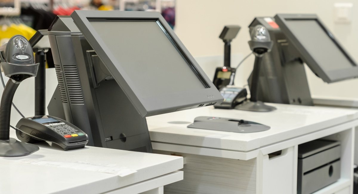 shop POS system seen from behind the counter