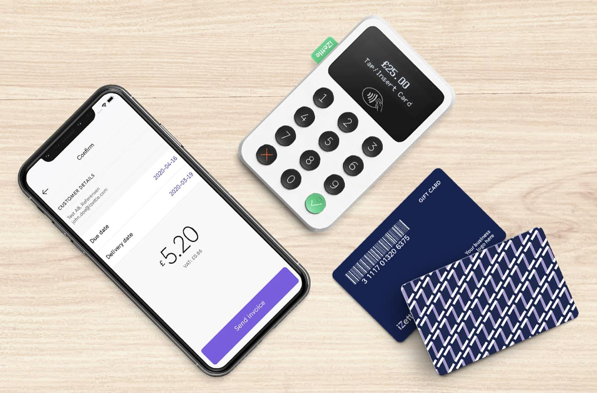 iZettle guft cards invoice app