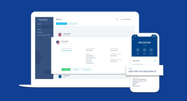 TransferWise on laptop and phone
