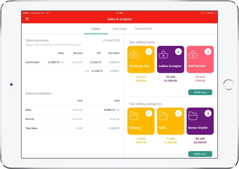 Worldpay POS app - sales and analytics