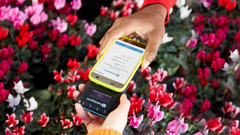 Barclaycard Anywhere mobile payment over flowers