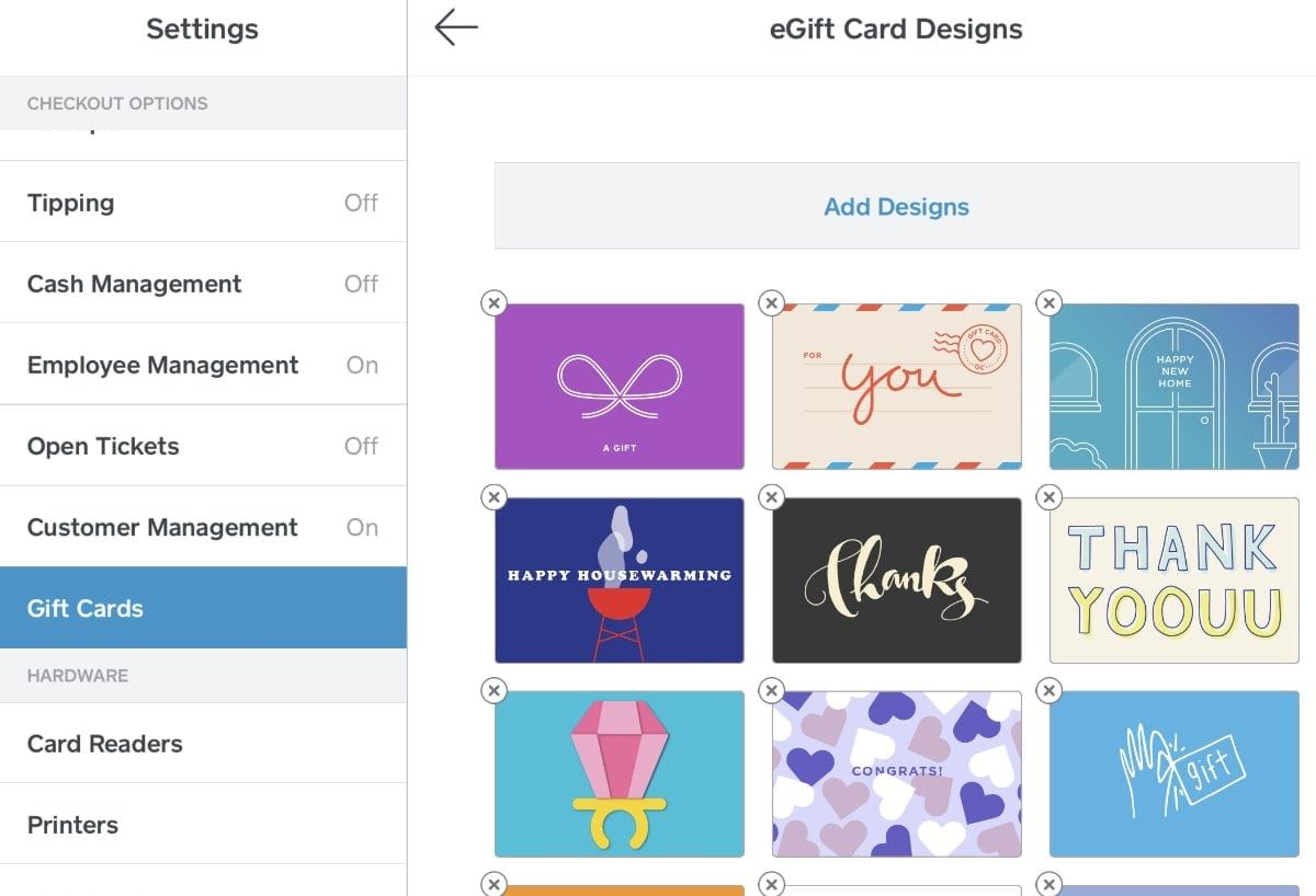 Square eGift card designs as seen in app Settings