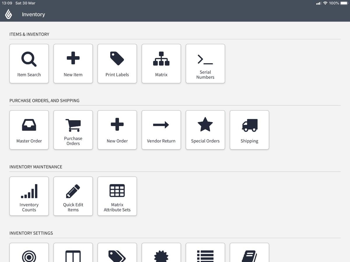 Lightspeed Retail POS inventory menu