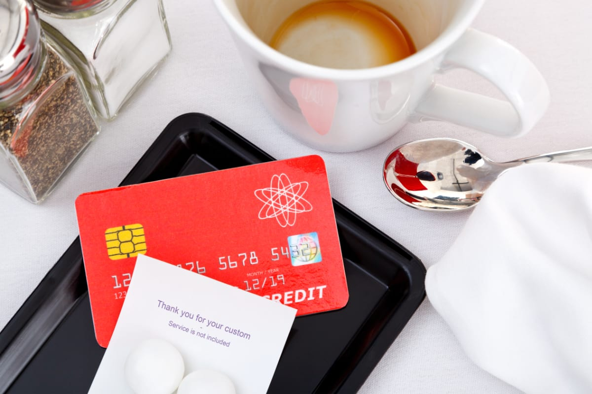 Credit card on tip tray