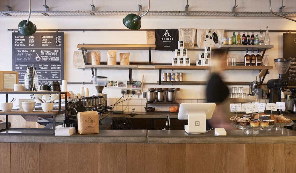 Square cafe counter