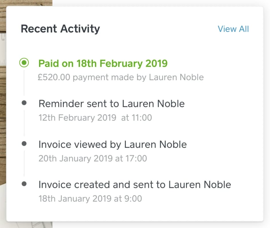 Square invoicing recent activity