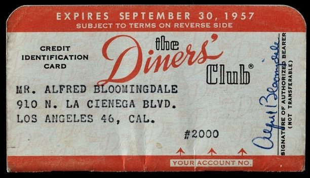 Original Diners Club card from 1950s