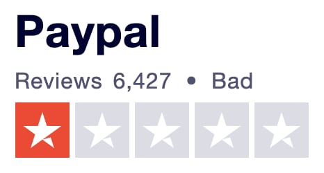 PayPal Trustpilot UK rating