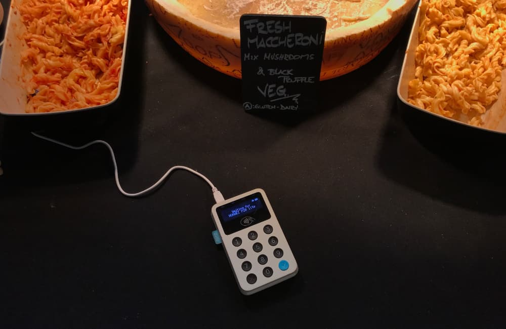 iZettle Reader at pasta stand