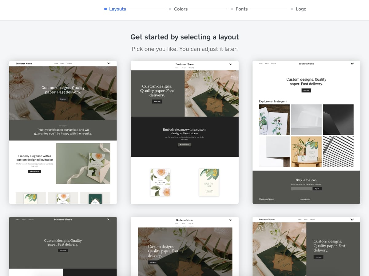 Square Store design templates