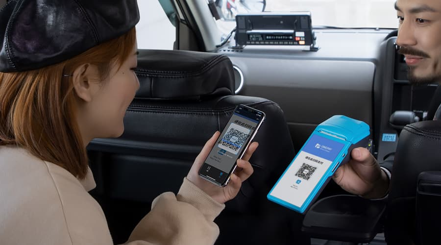 Alipay QR code payment in taxi in China