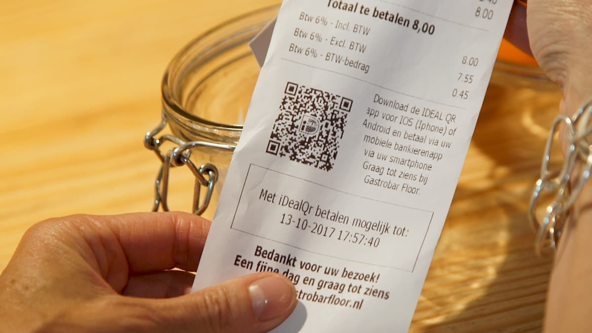 iDEAL QR code on receipt in the Netherlands