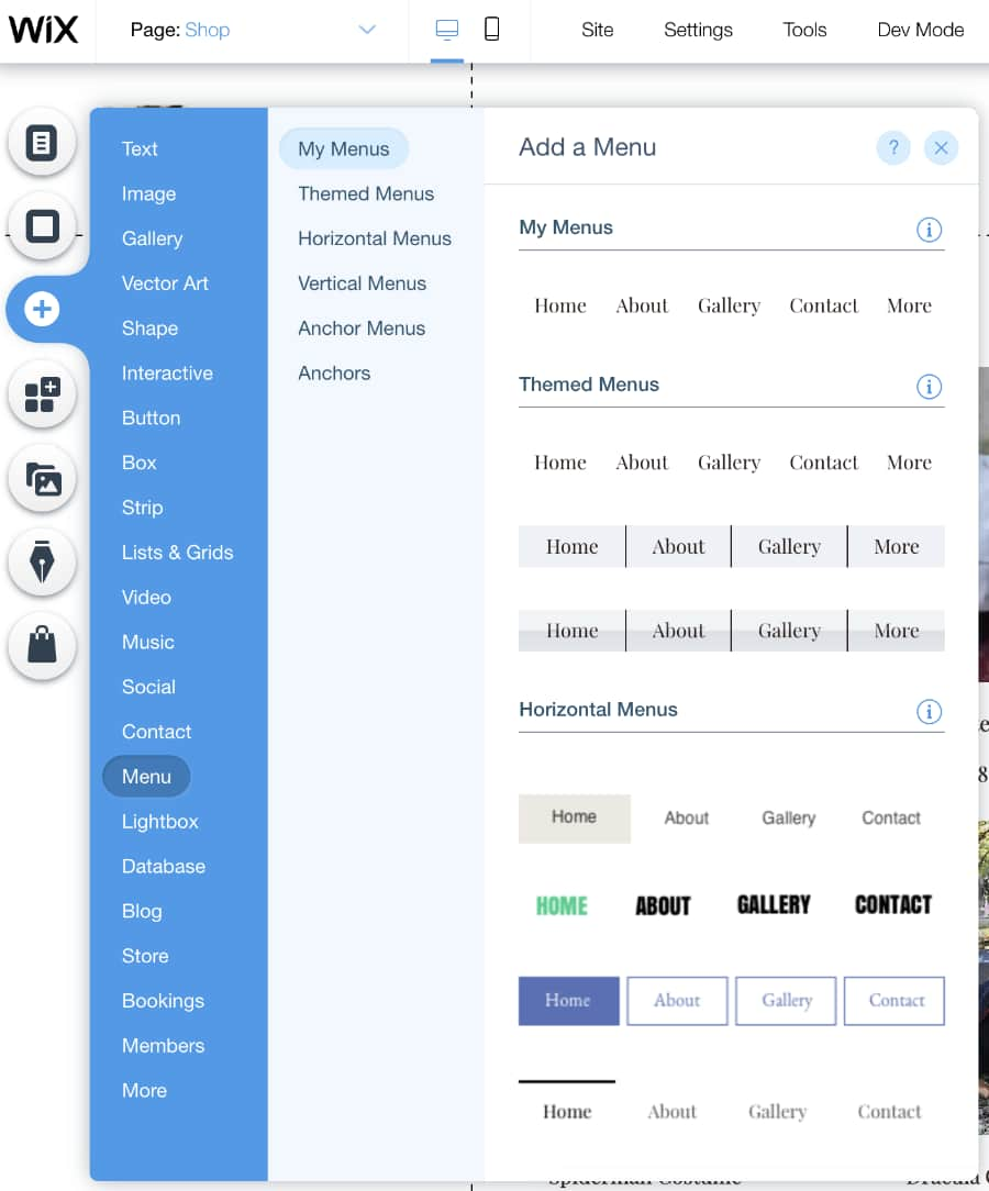 Wix editor options