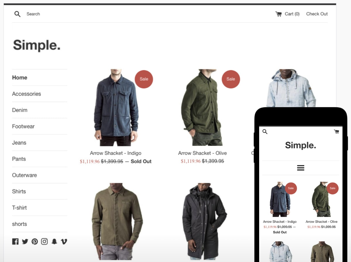 Shopify template for clothes