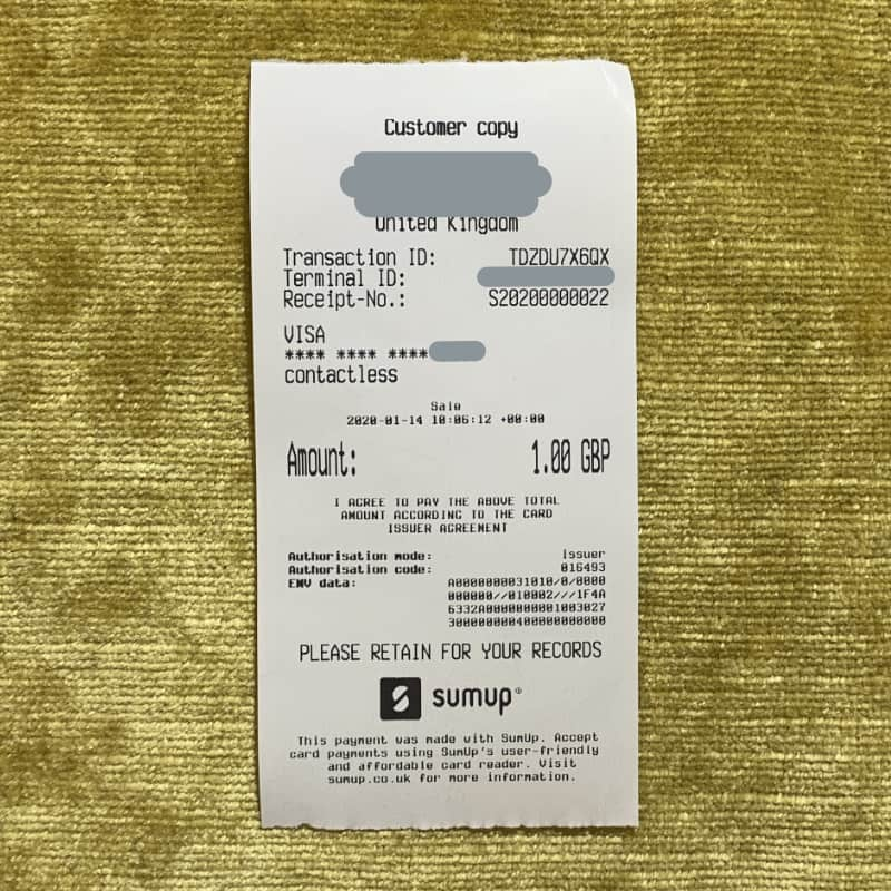 SumUp 3G Printer receipt example