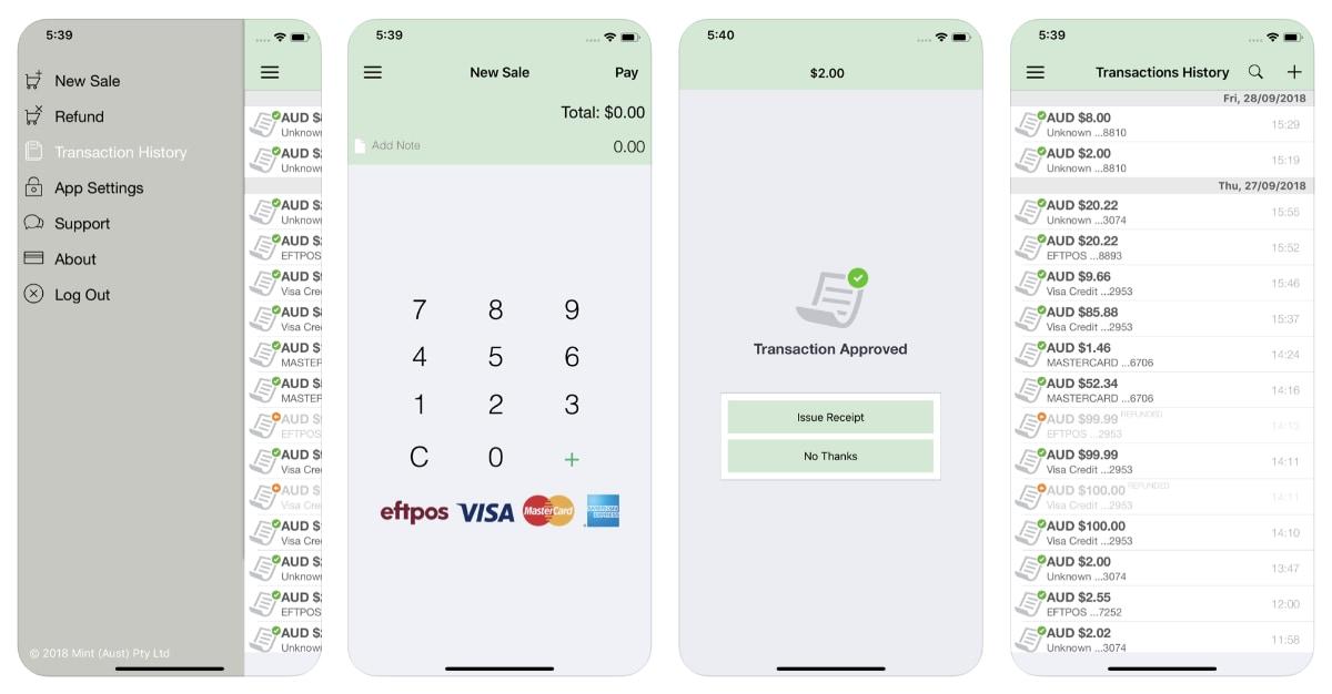 Mint mPOS app screens