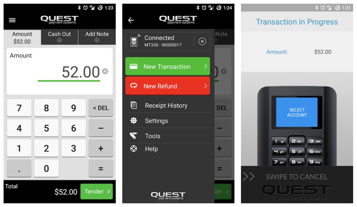 Quest mPOS with NAB app screens