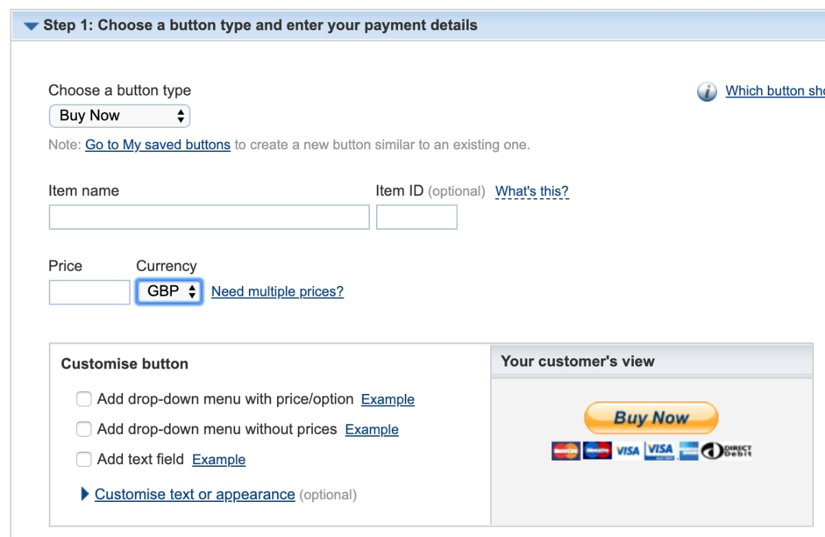 PayPal Buy Now button editor