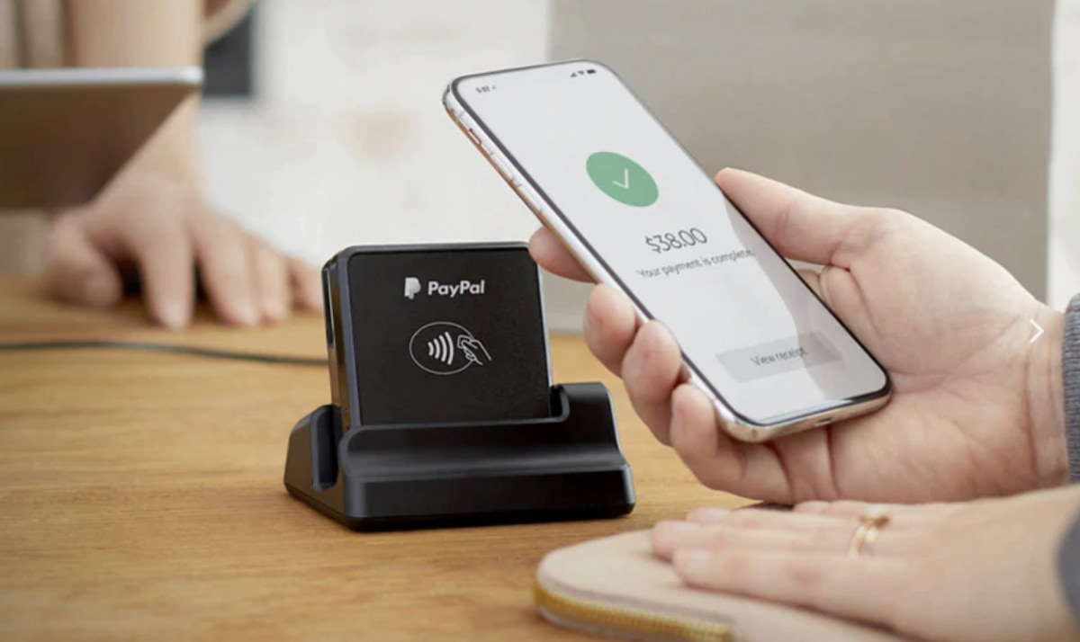 PayPal Chip and Tap Reader in charging stand