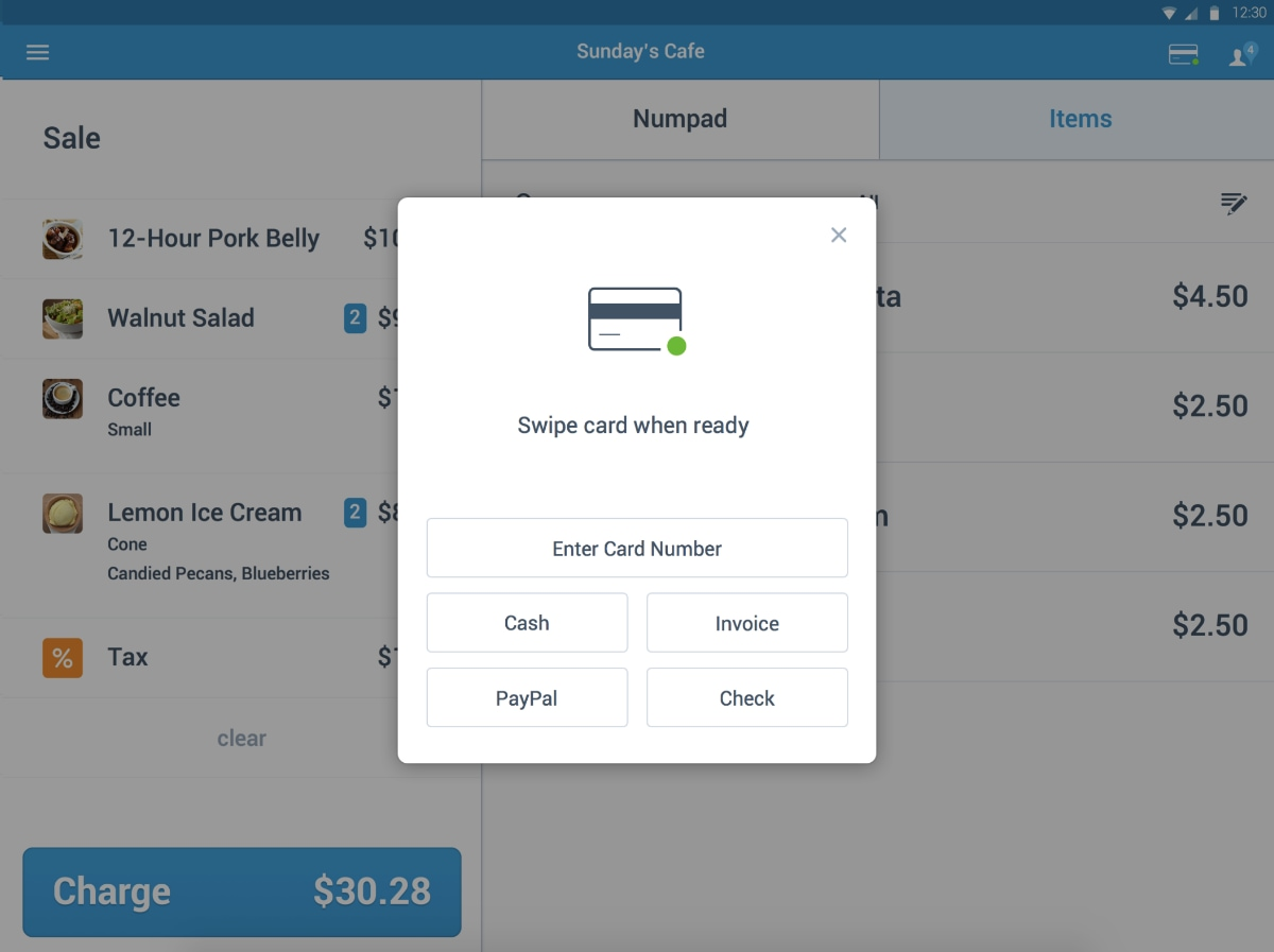 PayPal Here payment methods on Android tablet