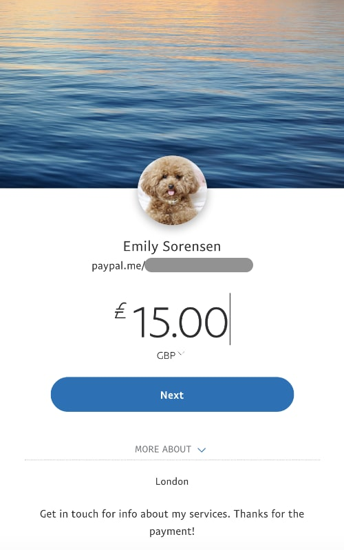PayPal Me link page