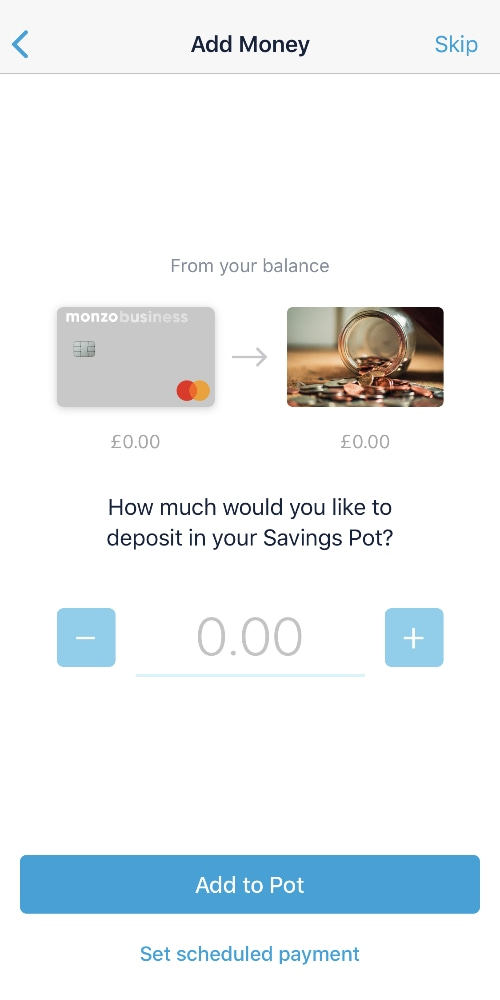 Monzo business savings pot