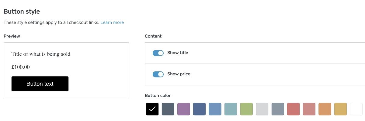 Square Online Checkout button edit