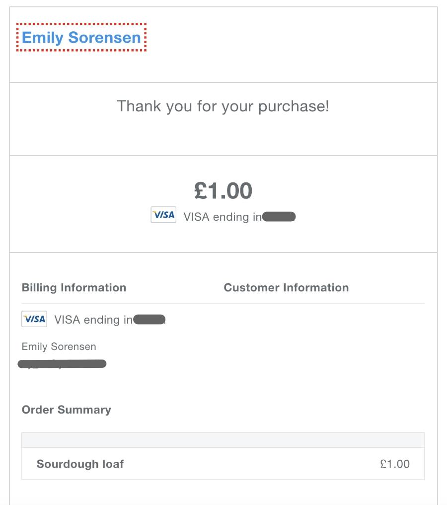 Square Online Checkout receipt