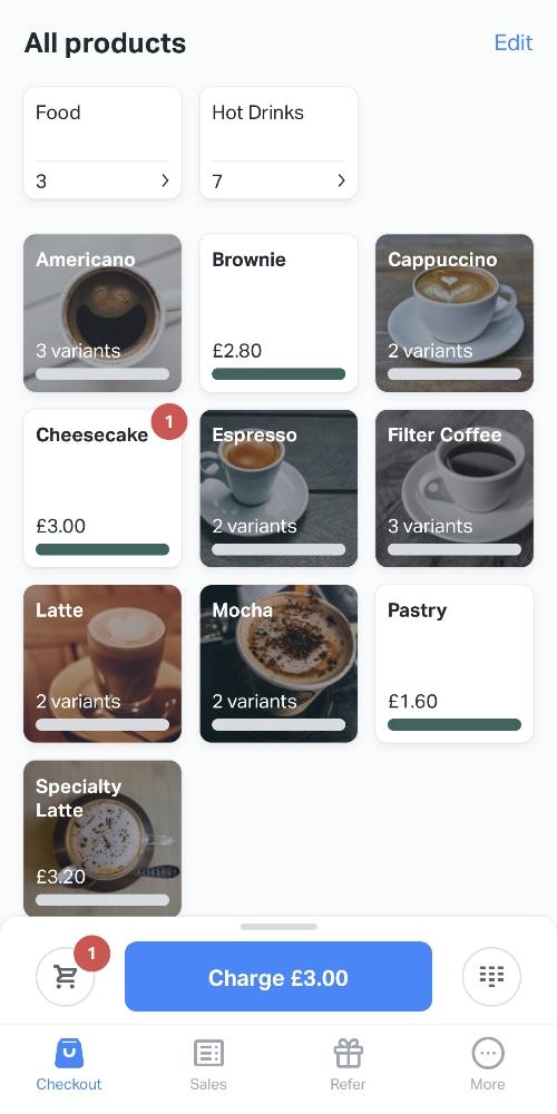 SumUp App product menu