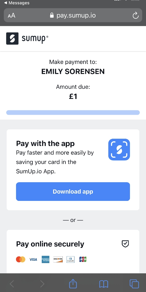 SumUp pay by link page