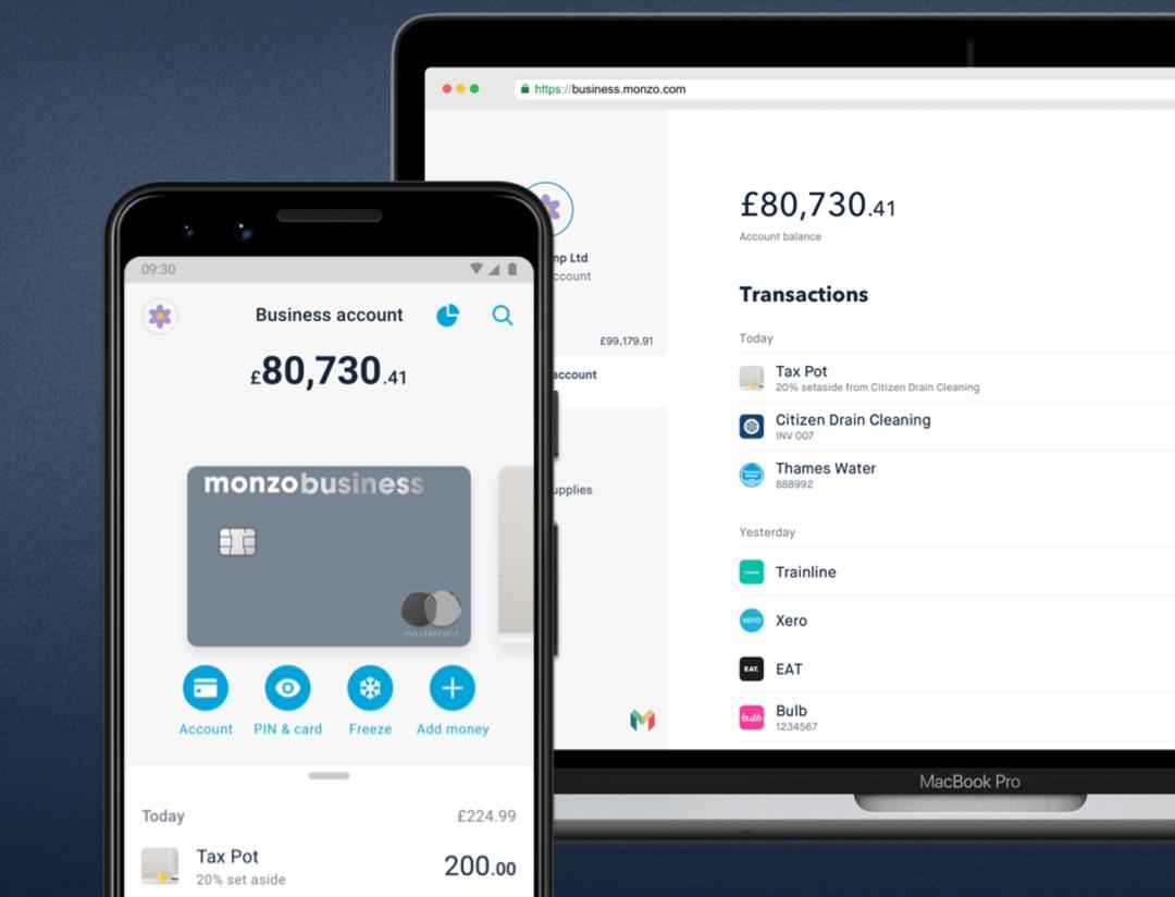 Monzo Business web vs mobile app