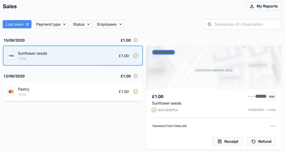 SumUp sales overview online
